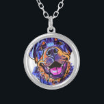 """The Rottweiler Love of My Life Silver Plated Necklace<br><div class=""""desc"""">your Rottie dog keeps you smiling!</div>"""