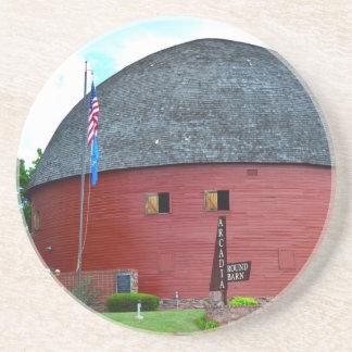 The Round Barn of Arcadia Sandstone Coaster