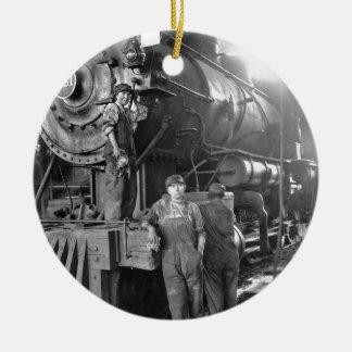 The Roundhouse Gals Vintage Locomotive Ceramic Ornament