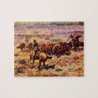 The Roundup', Charles M. Russell_Art of America Jigsaw Puzzle
