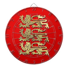 The Royal Arms of England Dartboard With Darts