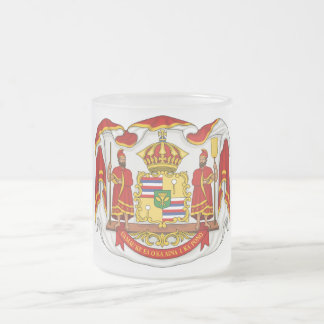 The Royal Coat of Arms of the Kingdom of Hawaii Frosted Glass Coffee Mug