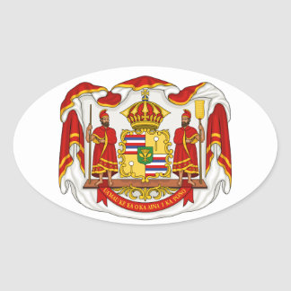 The Royal Coat of Arms of the Kingdom of Hawaii Oval Sticker