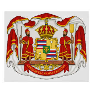 The Royal Coat of Arms of the Kingdom of Hawaii Print