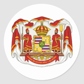 The Royal Coat of Arms of the Kingdom of Hawaii Classic Round Sticker