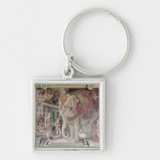 The Royal Elephant Silver-Colored Square Keychain