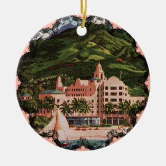 The Royal Hawaiian Hotel Double-Sided Ceramic Round Christmas Ornament