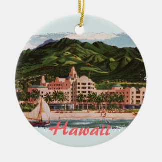 The Royal Hawaiian Hotel Double-Sided Ceramic Round Christmas Ornament