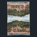 "The Royal Hawaiian Hotel Hand Towel<br><div class=""desc"">Vintage image of the Royal Hawaiian Hotel in bright,  vivid colors.</div>"