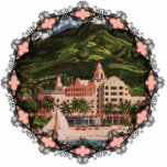 "The Royal Hawaiian Hotel Ornament<br><div class=""desc"">Vintage image of The Royal Hawaiian Hotel on Honolulu in bright,  vivbrant colors makes a great holiday ornament for the tree.</div>"