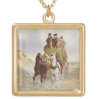 The Royal Mail Coach on the Road, 1841 (oil on pan Gold Plated Necklace