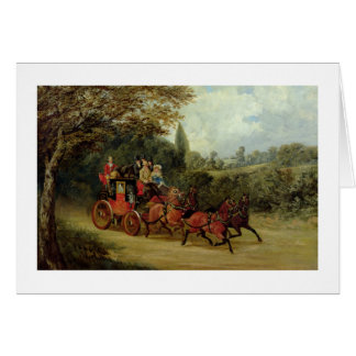 The Royal Mail Coach with Passengers (oil on canva Greeting Cards