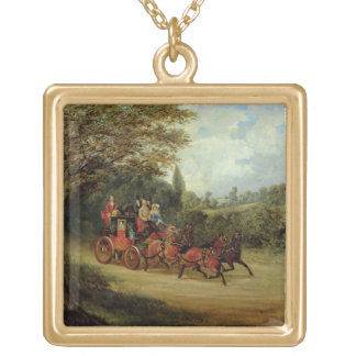 The Royal Mail Coach with Passengers (oil on canva Gold Plated Necklace