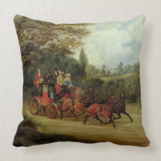 The Royal Mail Coach with Passengers (oil on canva Throw Pillows