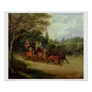 The Royal Mail Coach with Passengers (oil on canva Poster
