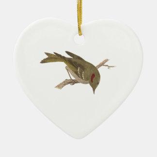 The Ruby-crowned Kinglet(Regulus calendula) Ceramic Ornament
