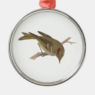The Ruby-crowned Kinglet(Regulus calendula) Metal Ornament