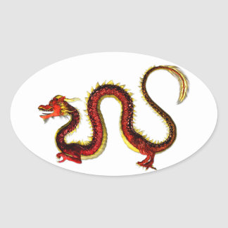 The Ruby Dragon Oval Stickers