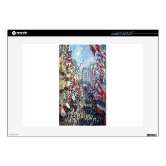 """The Rue Montorgueil, Paris by Claude Monet 15"""" Laptop Skins"""