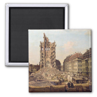 The Ruins of the old Kreuzkirche, Dresden 2 Inch Square Magnet