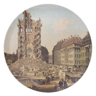The Ruins of the old Kreuzkirche, Dresden Dinner Plates