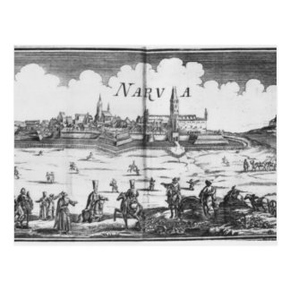 The Russian army besieging Narva in 1700 Postcard