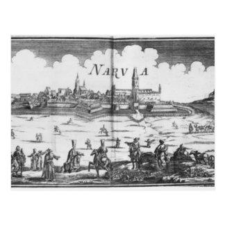 The Russian army besieging Narva in 1700 Postcard