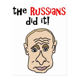The Russians did it Putin Cartoon Postcard