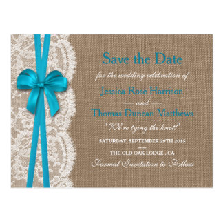 The Rustic Blue Bow Collection Save The Date Postcard