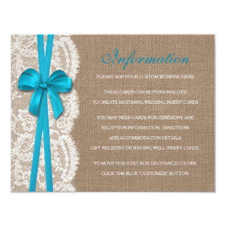 The Rustic Blue Bow Wedding Collection Detail 4.25x5.5 Paper Invitation Card