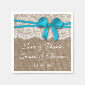 The Rustic Blue Bow Wedding Collection Napkin