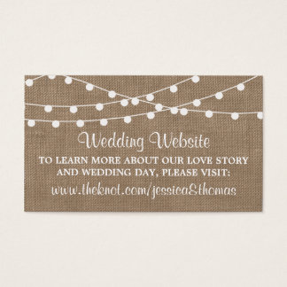 The Rustic Burlap String Lights Wedding Collection Business Card