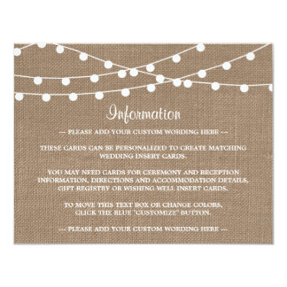 The Rustic Burlap String Lights Wedding Collection Card