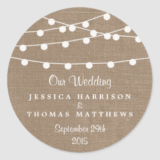 The Rustic Burlap String Lights Wedding Collection Classic Round Sticker
