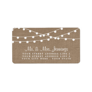 The Rustic Burlap String Lights Wedding Collection Label
