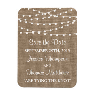 The Rustic Burlap String Lights Wedding Collection Magnet