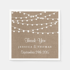 The Rustic Burlap String Lights Wedding Collection Napkin