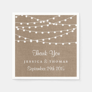 The Rustic Burlap String Lights Wedding Collection Napkin at Zazzle