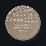 "The Rustic Burlap String Lights Wedding Collection Paper Plate<br><div class=""desc"">Simple yet elegant, the string lights on rustic burlap wedding collection is a stunning design featuring lovely white hanging string lights on a burlap effect background, which is perfect for any rustic wedding celebration. These paper plates can be personalized for your special occasion and would make the perfect item for...</div>"