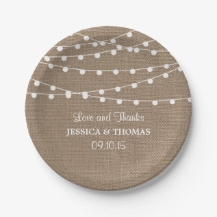 The Rustic Burlap String Lights Wedding Collection Paper Plate at Zazzle