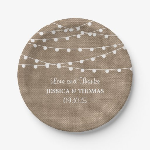 The Rustic Burlap String Lights Wedding Collection Paper Plate