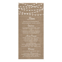 The Rustic Burlap String Lights Wedding Collection Rack Card