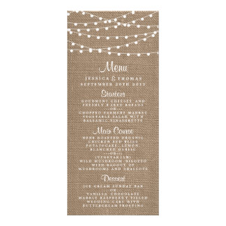 The Rustic Burlap String Lights Wedding Collection Rack Cards