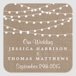 The Rustic Burlap String Lights Wedding Collection Square Sticker