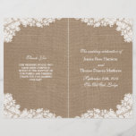 """The Rustic Burlap & Vintage White Lace Collection<br><div class=""""desc"""">The rustic burlap & vintage white lace wedding collection is a stunning design featuring a lovely rustic burlap effect background with a romantic vintage white lace effect trim. These programs can be personalized for your special occasion and would make the perfect template for weddings, bridal showers, engagement parties, birthday parties...</div>"""