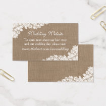 The Rustic Burlap & Vintage White Lace Collection Business Card