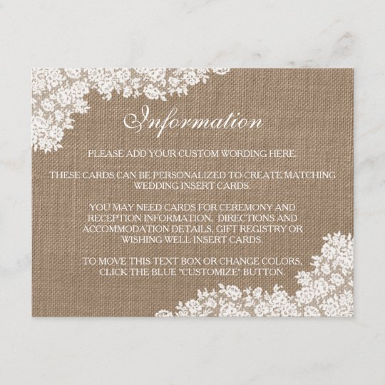 e77d89d5217 The Rustic Burlap & Vintage White Lace Collection Enclosure Card