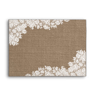The Rustic Burlap & Vintage White Lace Collection Envelope