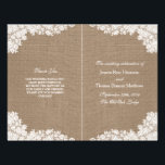 """The Rustic Burlap &amp; Vintage White Lace Collection Flyer<br><div class=""""desc"""">The rustic burlap &amp; vintage white lace wedding collection is a stunning design featuring a lovely rustic burlap effect background with a romantic vintage white lace effect trim. These programs can be personalized for your special occasion and would make the perfect template for weddings, bridal showers, engagement parties, birthday parties...</div>"""