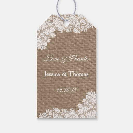 The Rustic Burlap & Vintage White Lace Collection Gift Tags